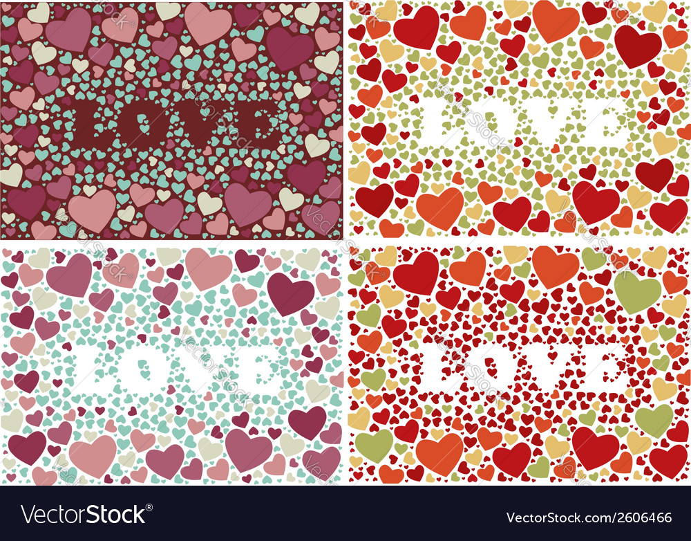 The word love in background with hearts set of 4 vector | Price: 1 Credit (USD $1)