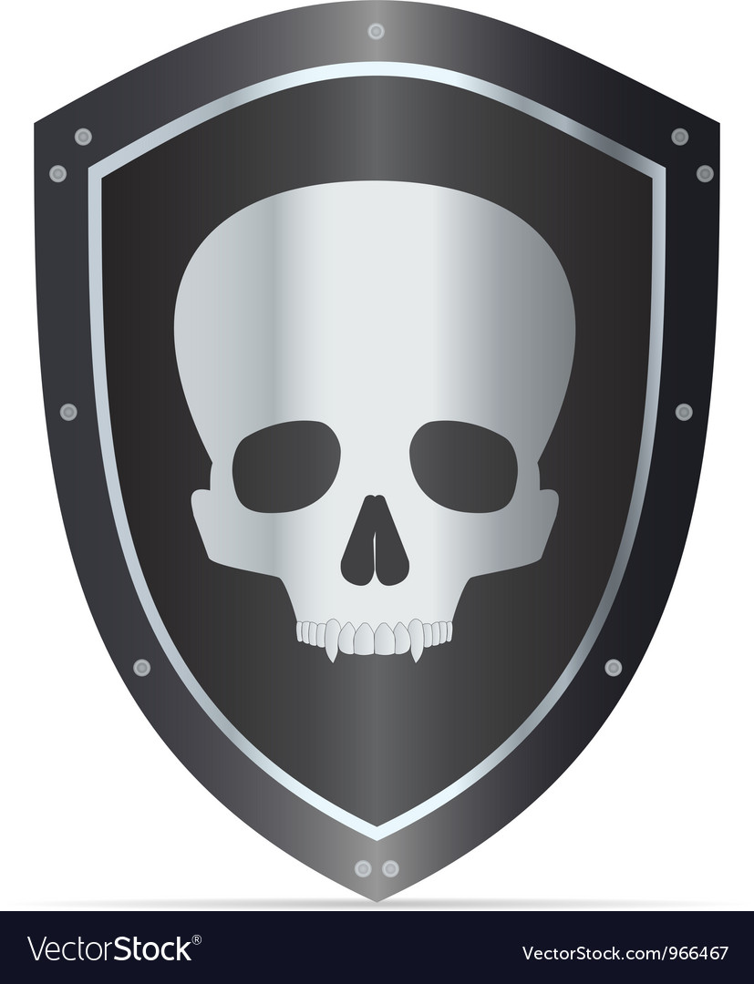 Black shield with skull vector | Price: 1 Credit (USD $1)
