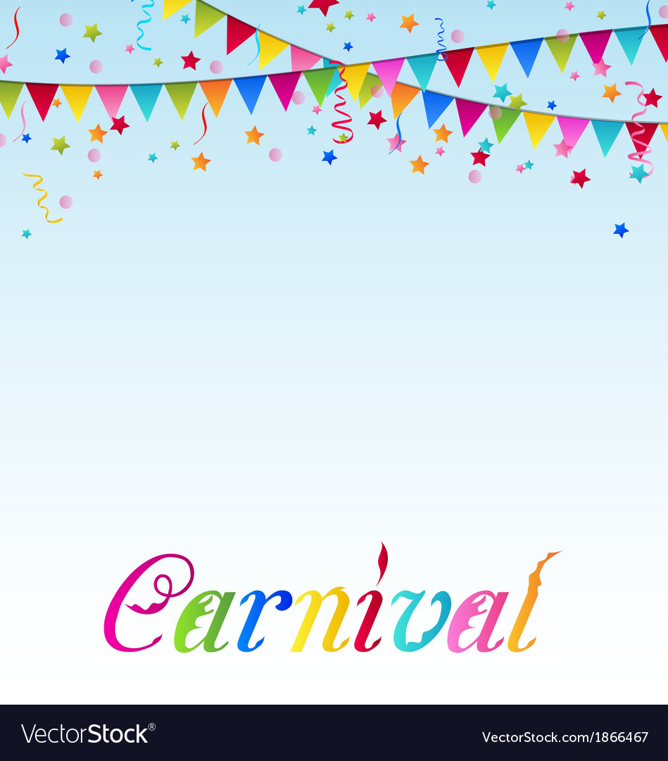 Carnival background with flags confetti text vector | Price: 1 Credit (USD $1)