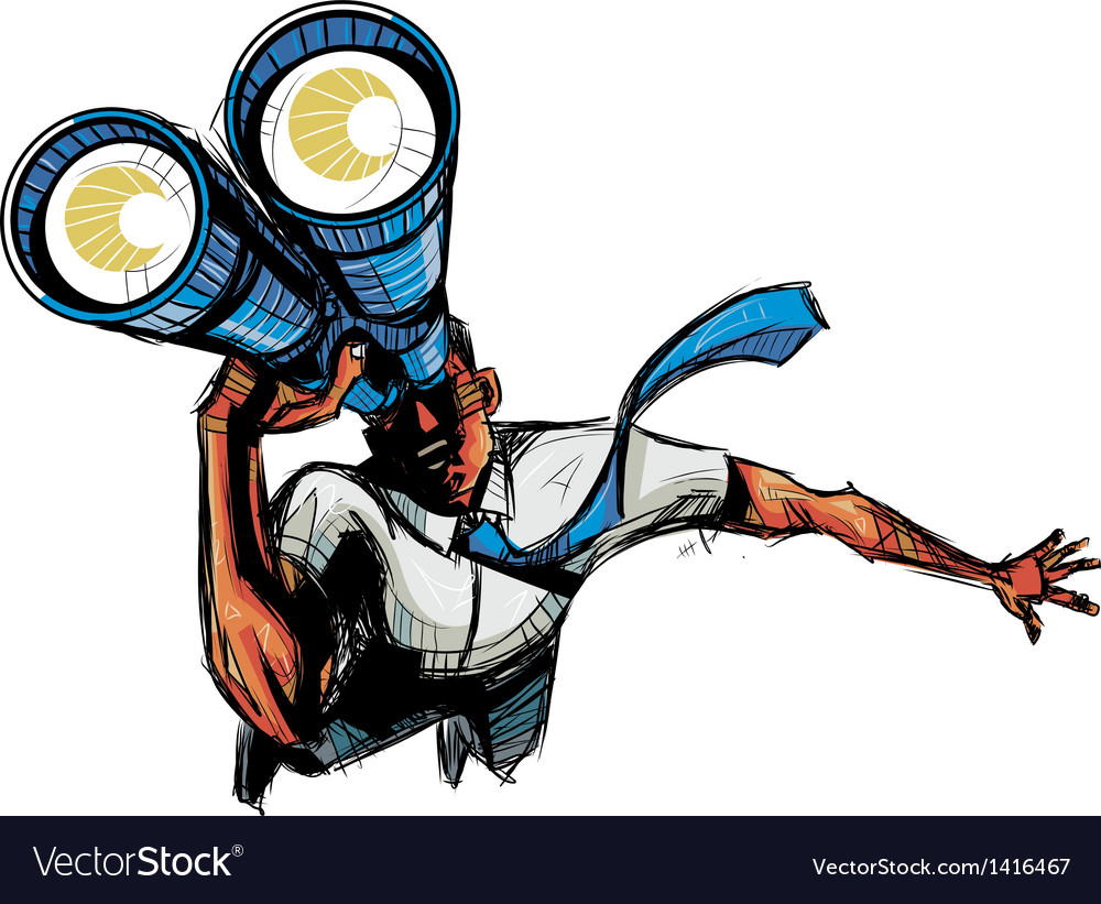 Close-up of man holding binocular vector | Price: 1 Credit (USD $1)