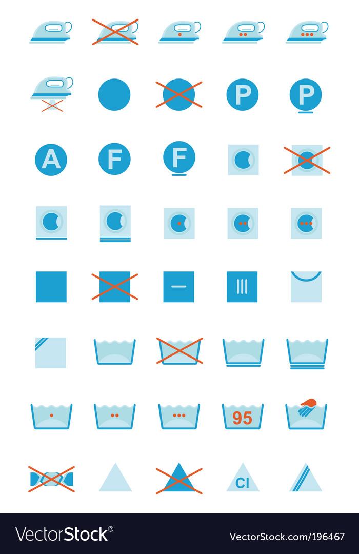 Clothing care symbols vector | Price: 1 Credit (USD $1)