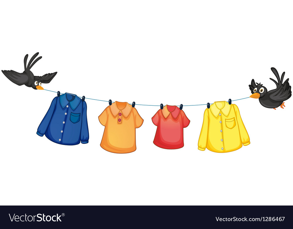 Four different clothes hanging with birds vector | Price: 1 Credit (USD $1)
