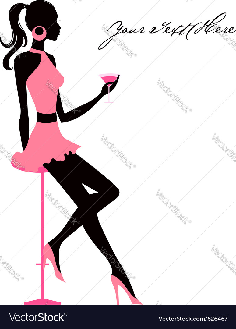 Girl with martini vector | Price: 1 Credit (USD $1)