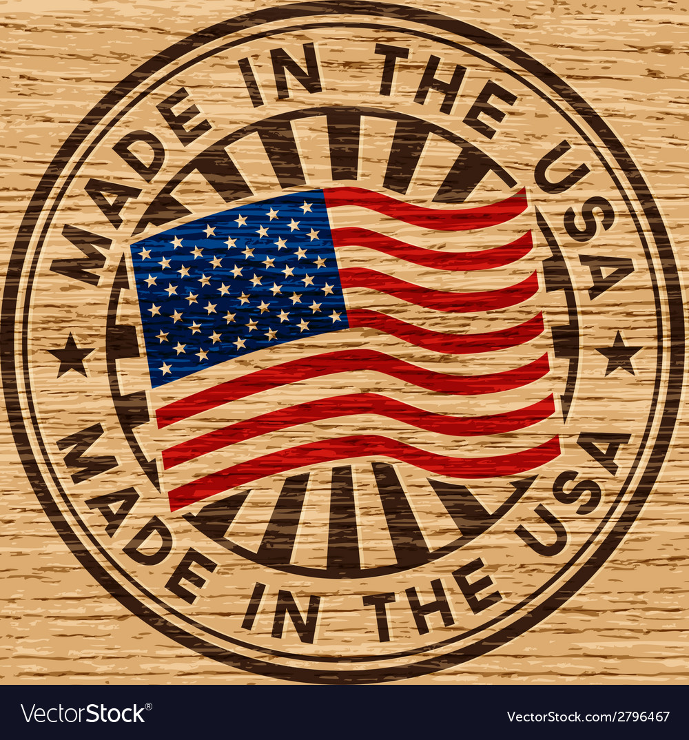 Made in the usa stamp on wooden background vector | Price: 1 Credit (USD $1)