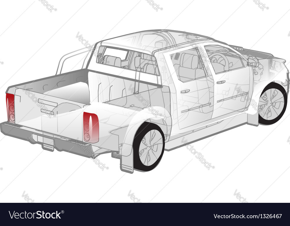 Pickup ifographics cutaway vector | Price: 3 Credit (USD $3)