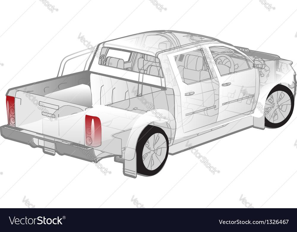 Pickup ifographics cutaway vector | Price: 3 Credit (USD $3)