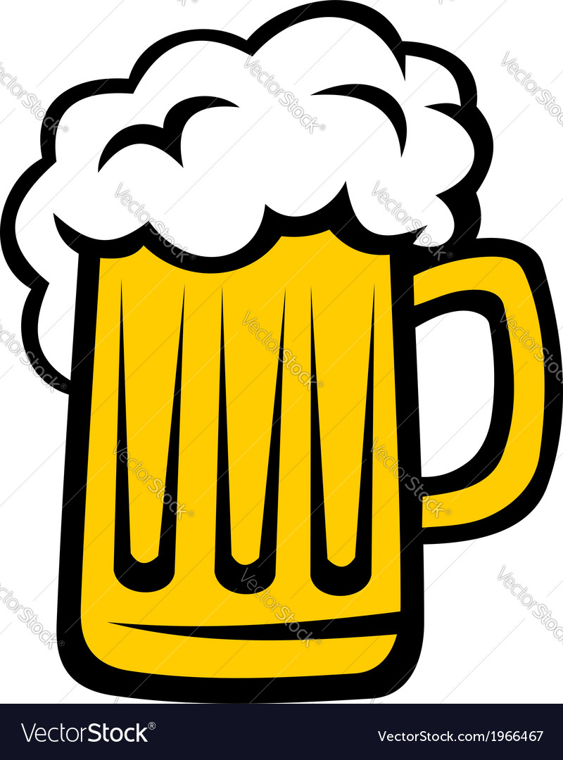 Pint of beer with a big head of froth vector | Price: 1 Credit (USD $1)