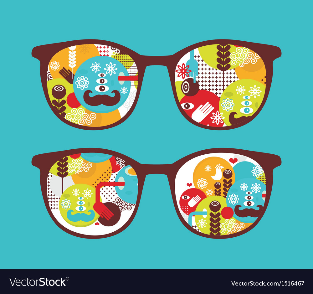 Retro sunglasses with spring reflection in it vector | Price: 1 Credit (USD $1)