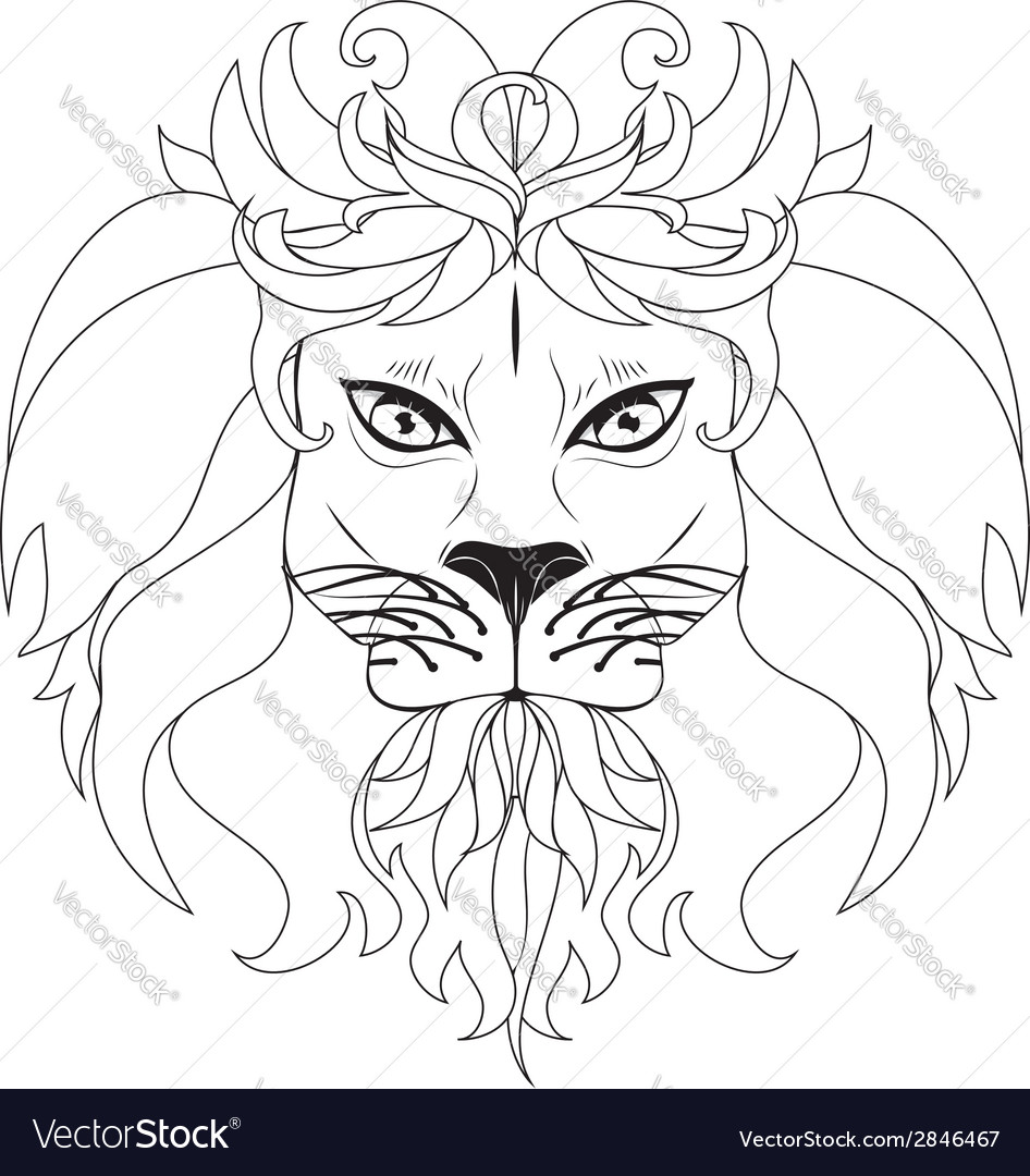 Stylized lion head3 vector | Price: 1 Credit (USD $1)