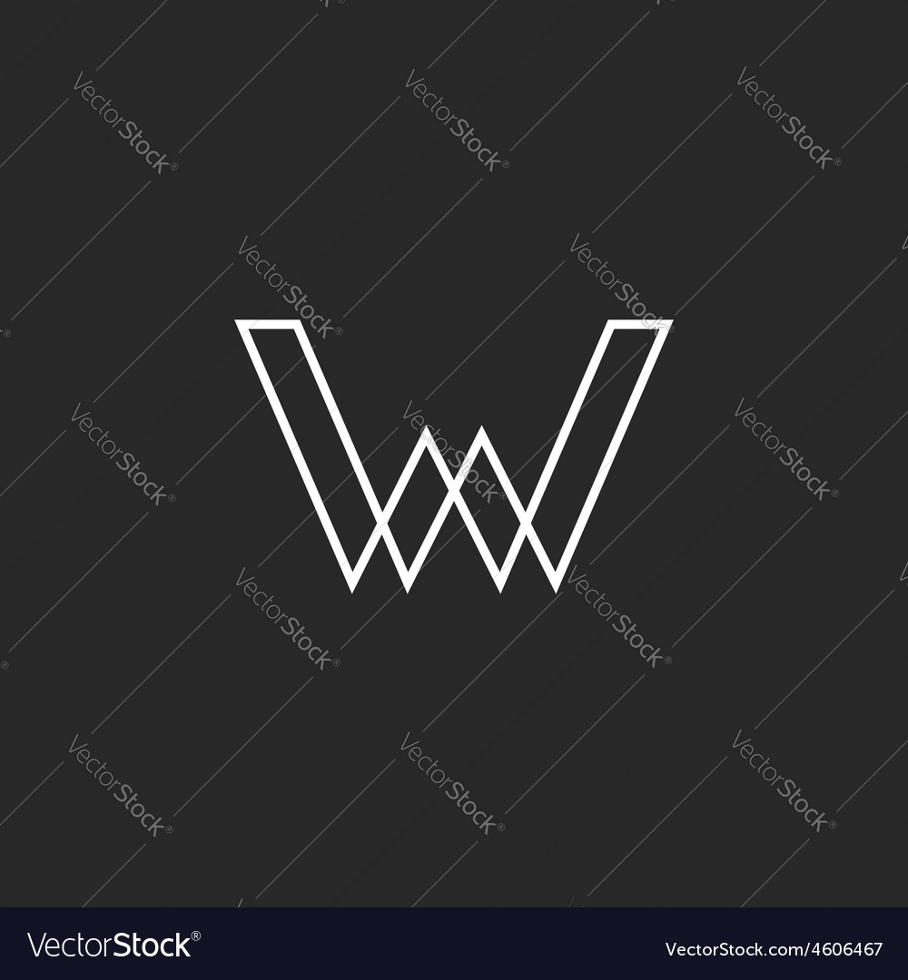 W letter logo geometric line mockup business sign vector
