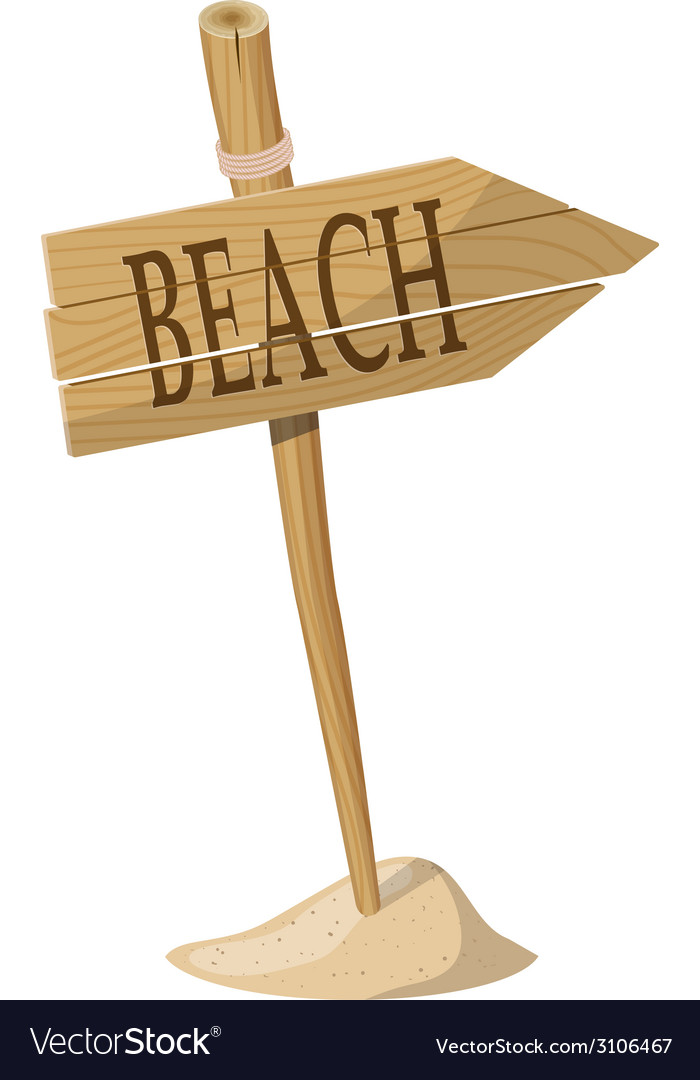 Wooden signpost indicating beach direction vector | Price: 1 Credit (USD $1)