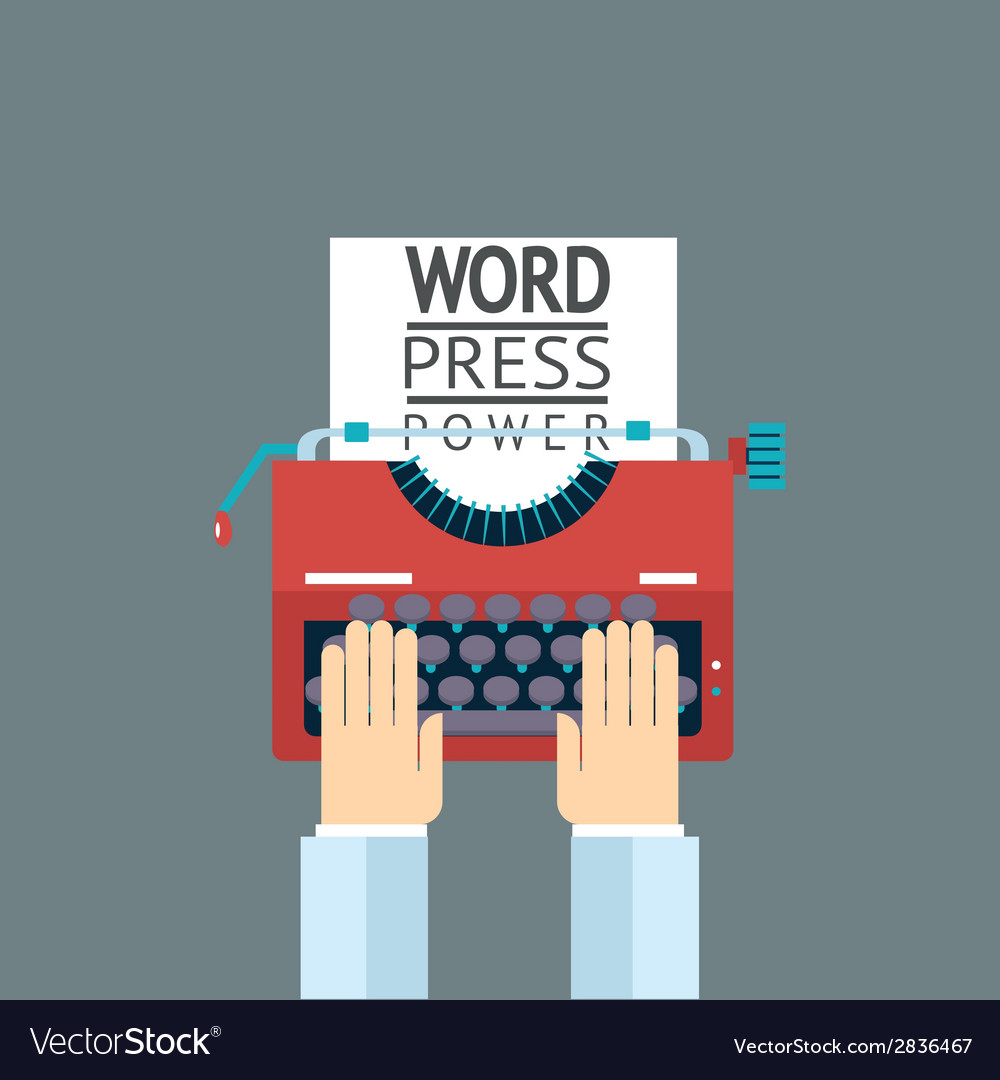 Word power mass media symbol press hand typewriter vector | Price: 1 Credit (USD $1)