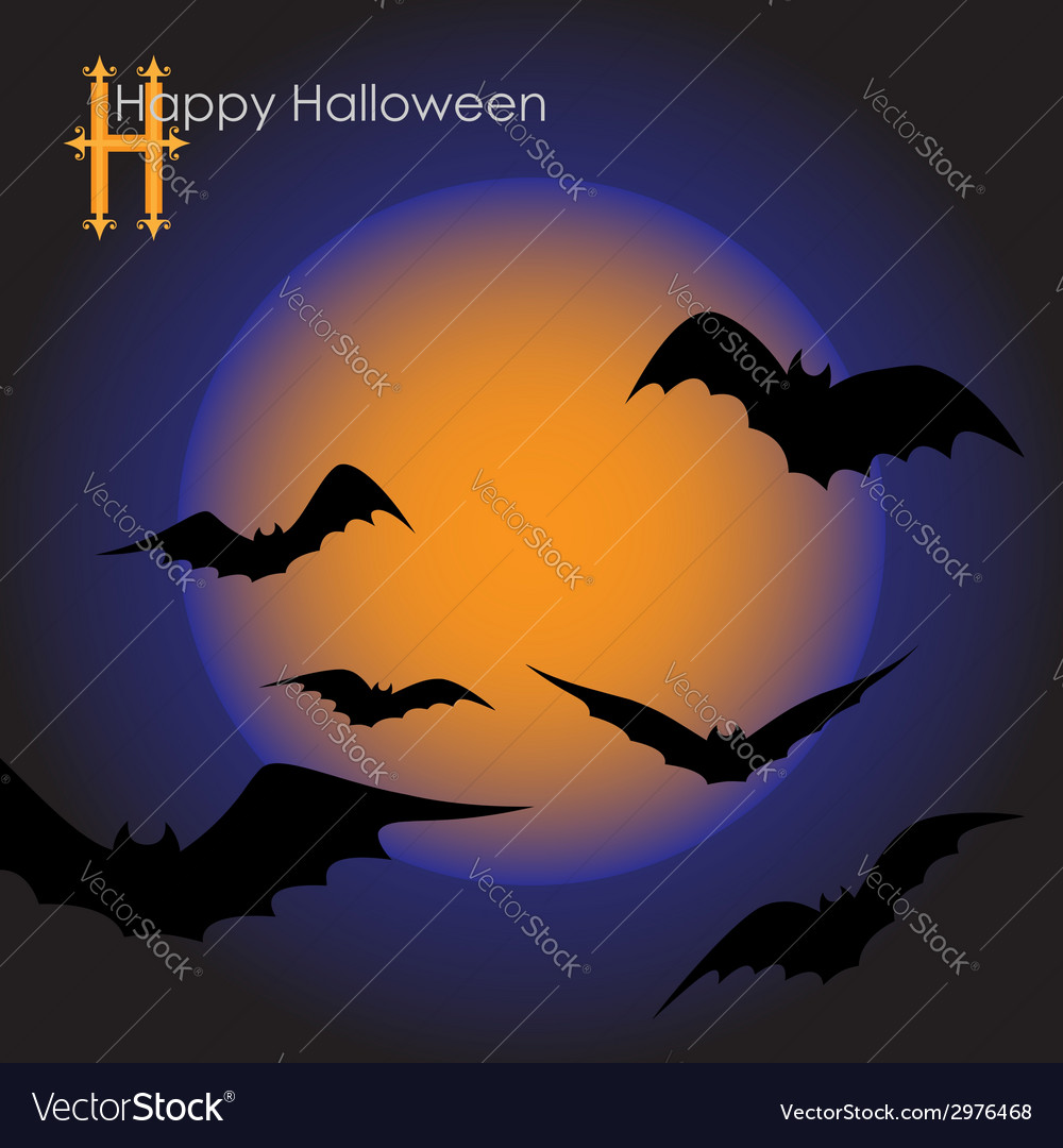Bats in the moonlight vector | Price: 1 Credit (USD $1)