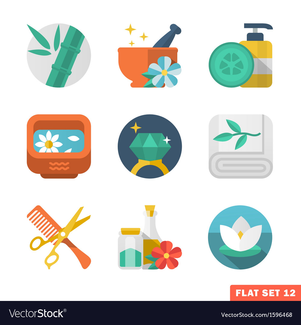 Beauty and spa flat icons vector | Price: 1 Credit (USD $1)