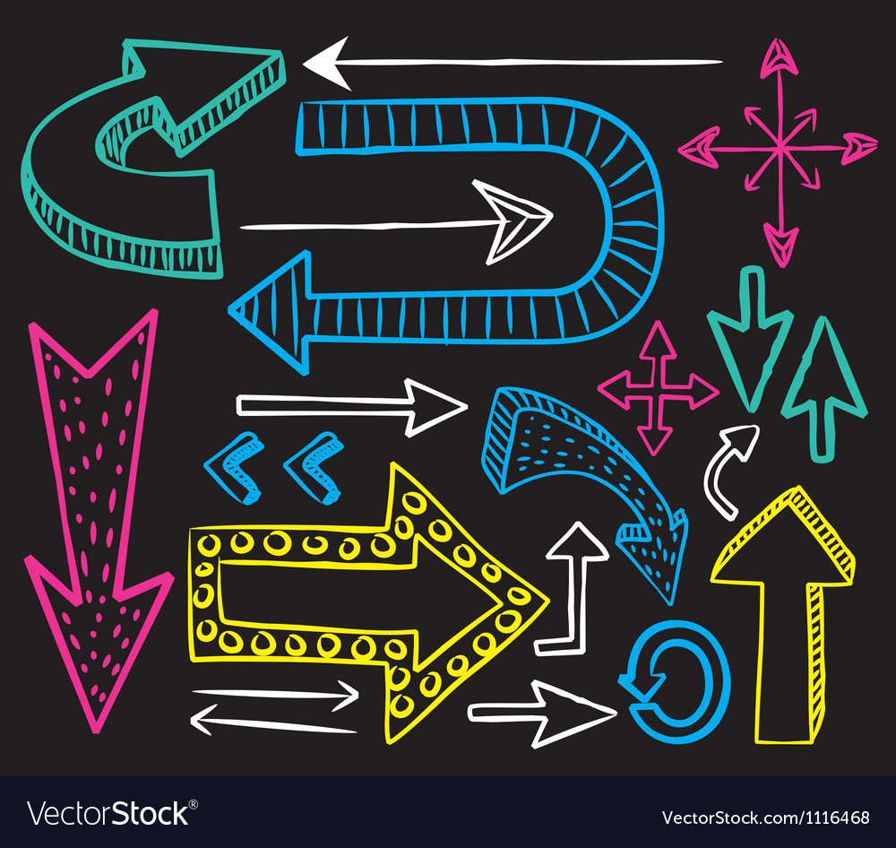 Colorful arrow doodle on black background vector | Price: 1 Credit (USD $1)