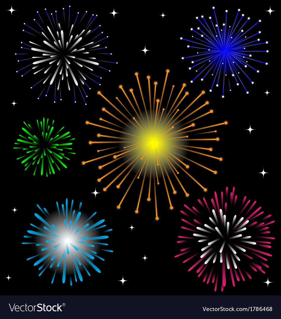 Colorful firework set vector | Price: 1 Credit (USD $1)