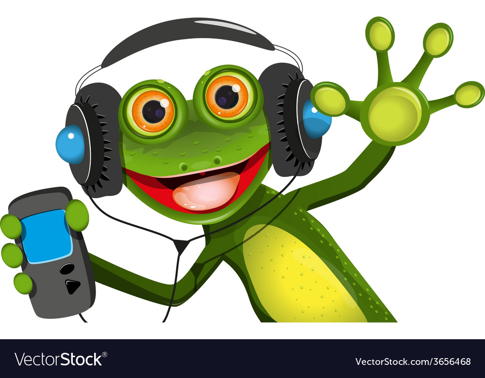 Frog in headphones vector | Price: 3 Credit (USD $3)