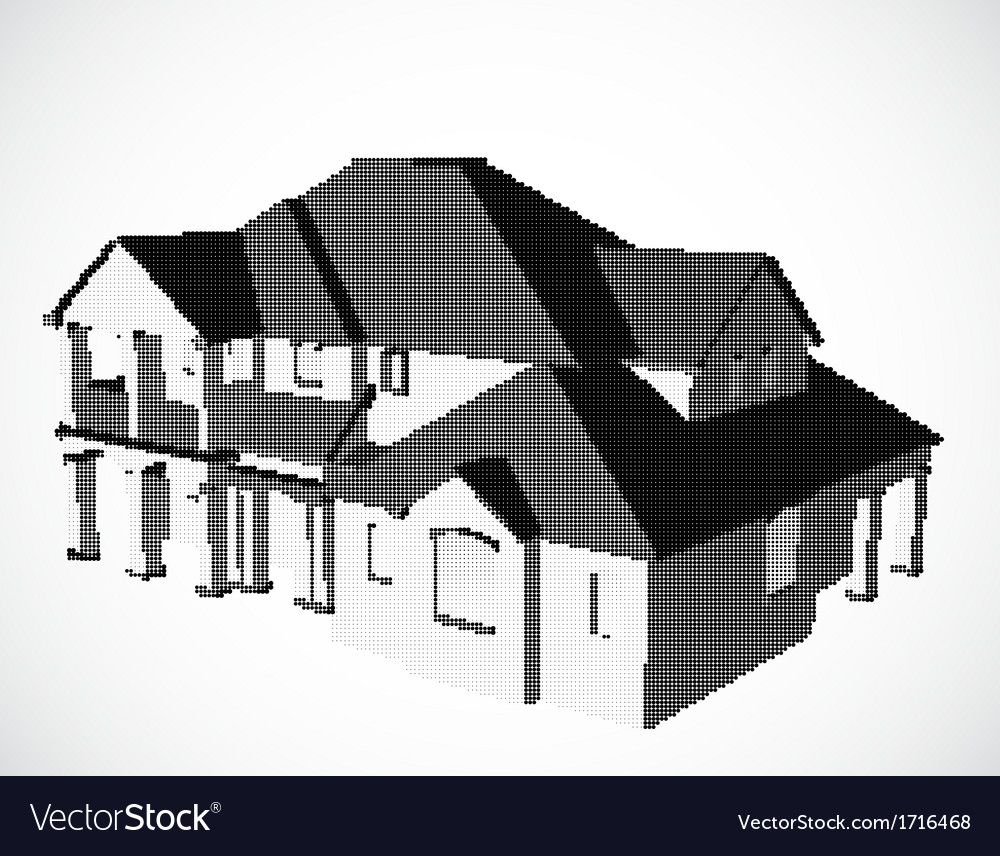 House made from dots vector | Price: 1 Credit (USD $1)
