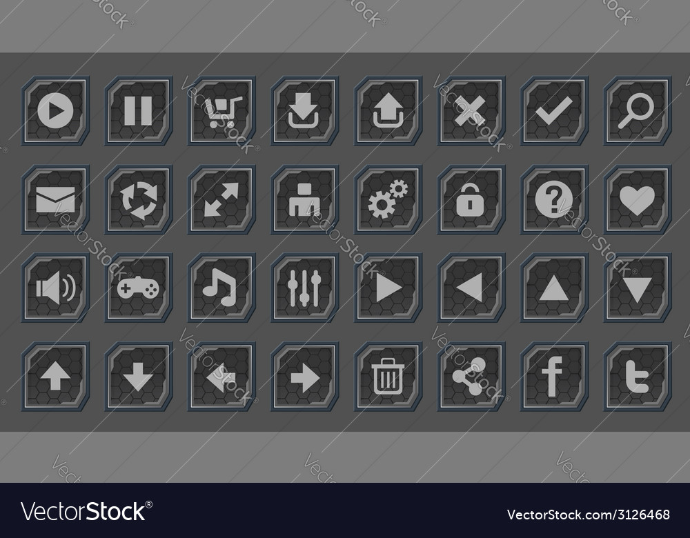 Interface buttons set for space games vector | Price: 1 Credit (USD $1)