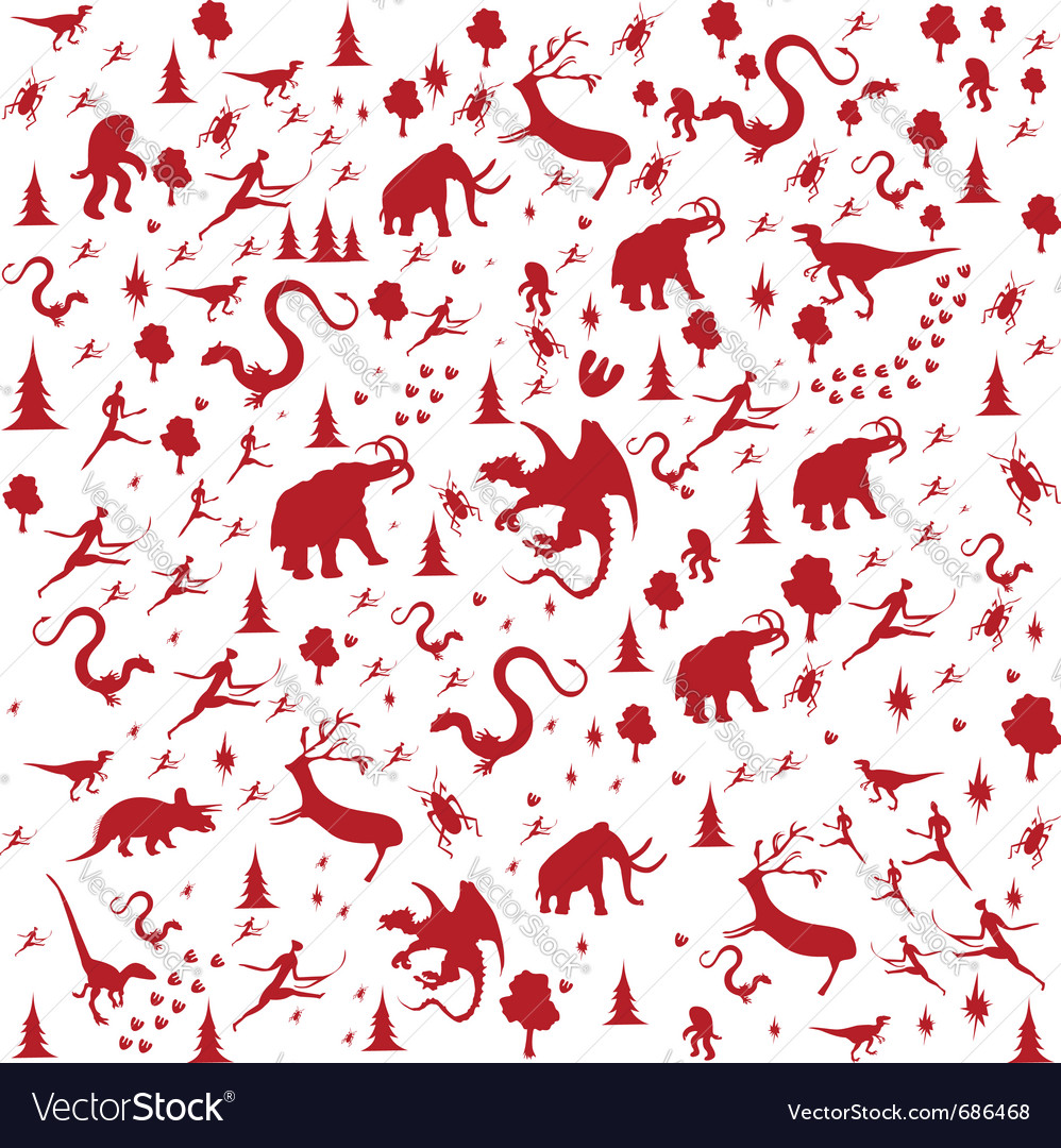 Seamless prehistoric vector | Price: 1 Credit (USD $1)