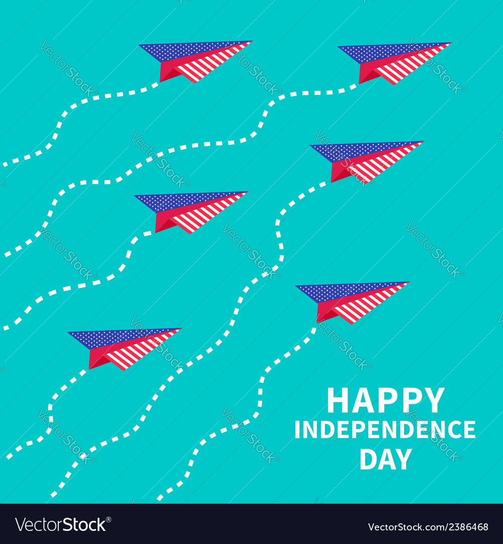 Six paper planes with dash line happy independence vector | Price: 1 Credit (USD $1)