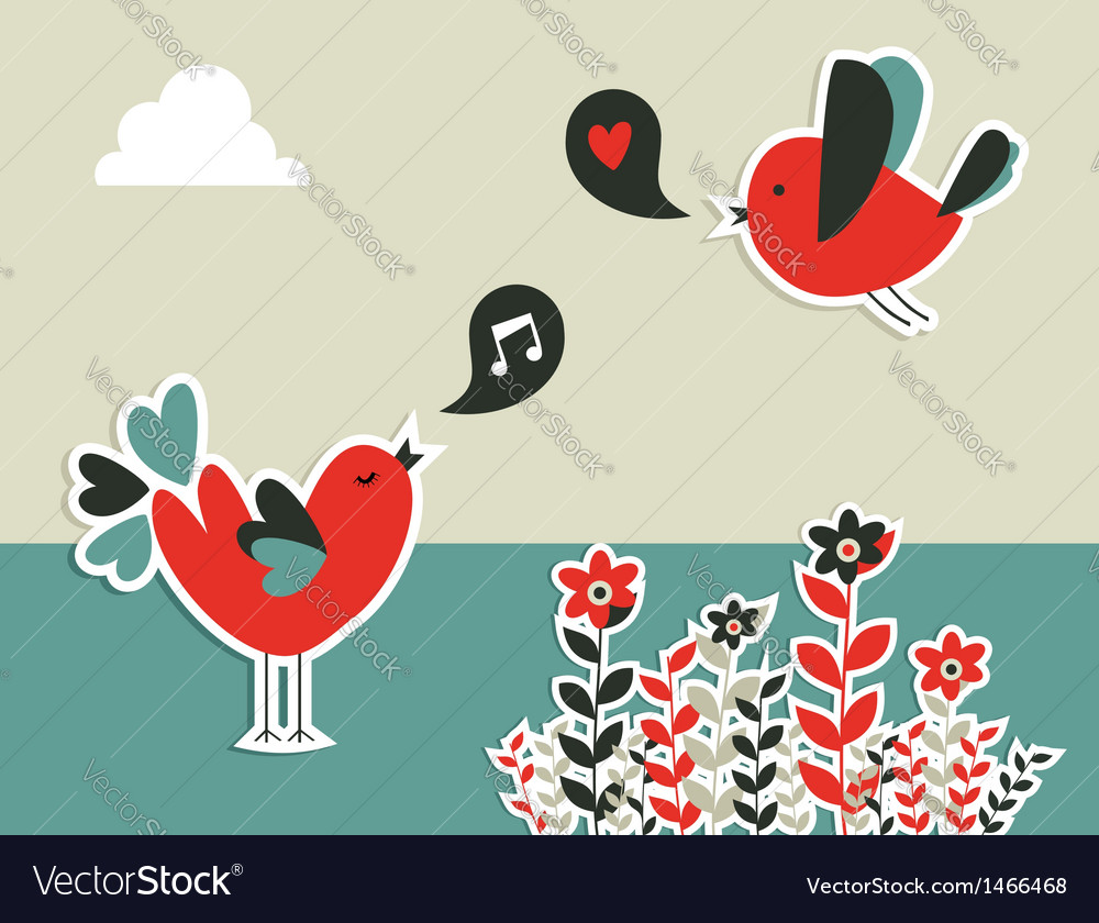 Social media birds communication vector | Price: 1 Credit (USD $1)