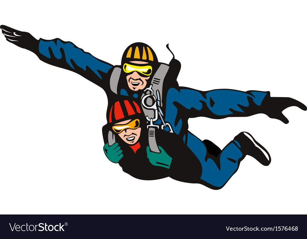 Tandem skydiving vector | Price: 1 Credit (USD $1)