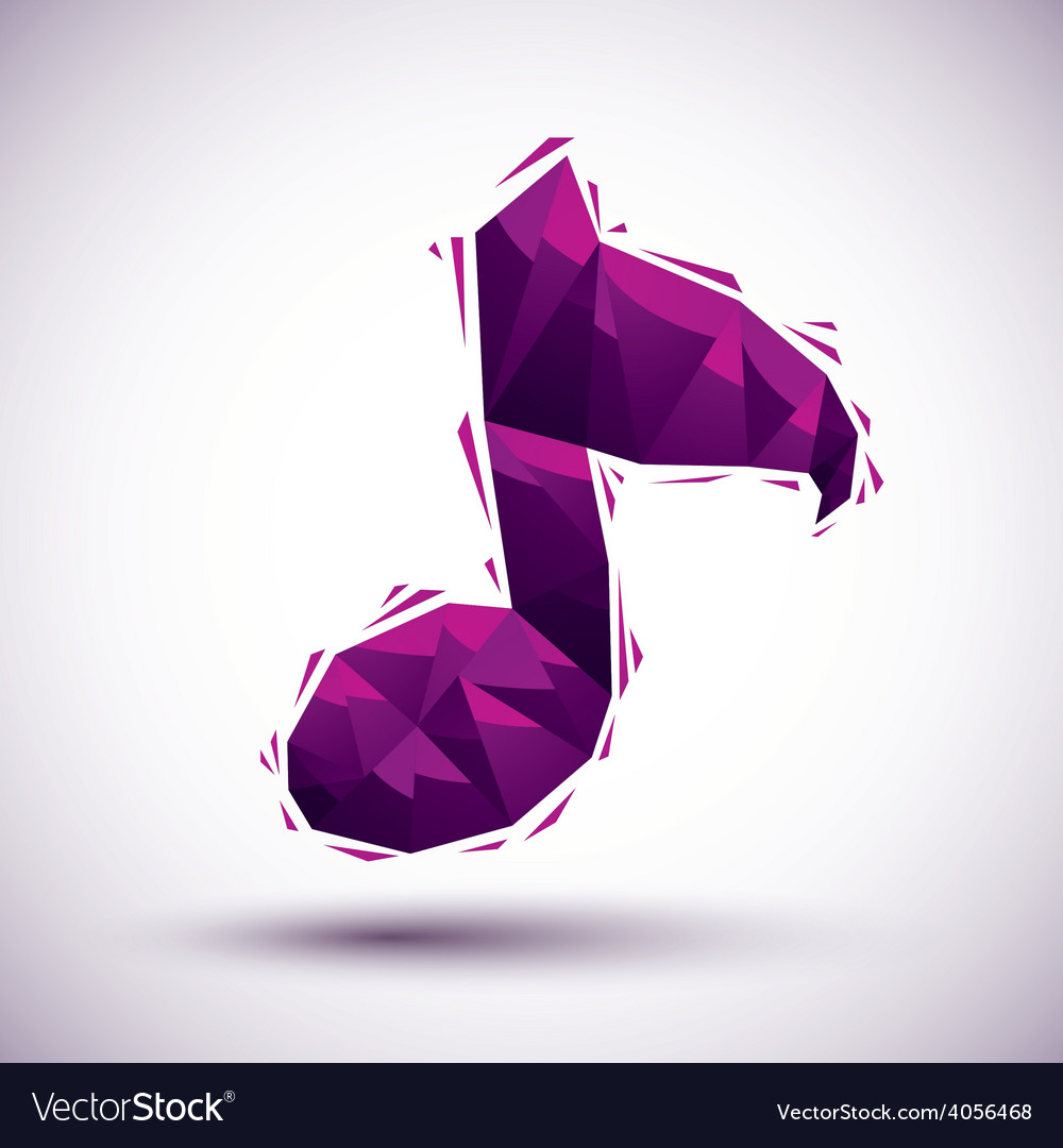 Violet musical note geometric icon made in 3d vector | Price: 1 Credit (USD $1)