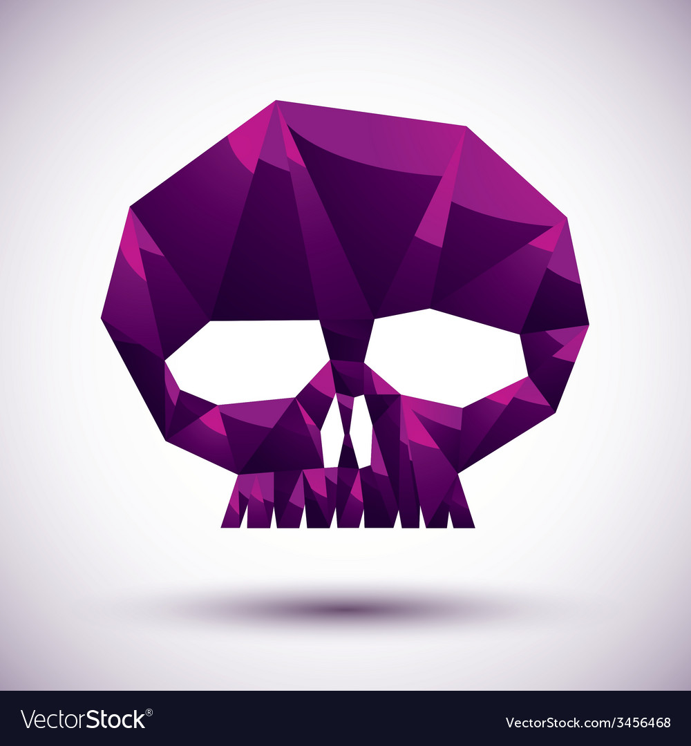 Violet skull geometric icon made in 3d modern vector | Price: 1 Credit (USD $1)