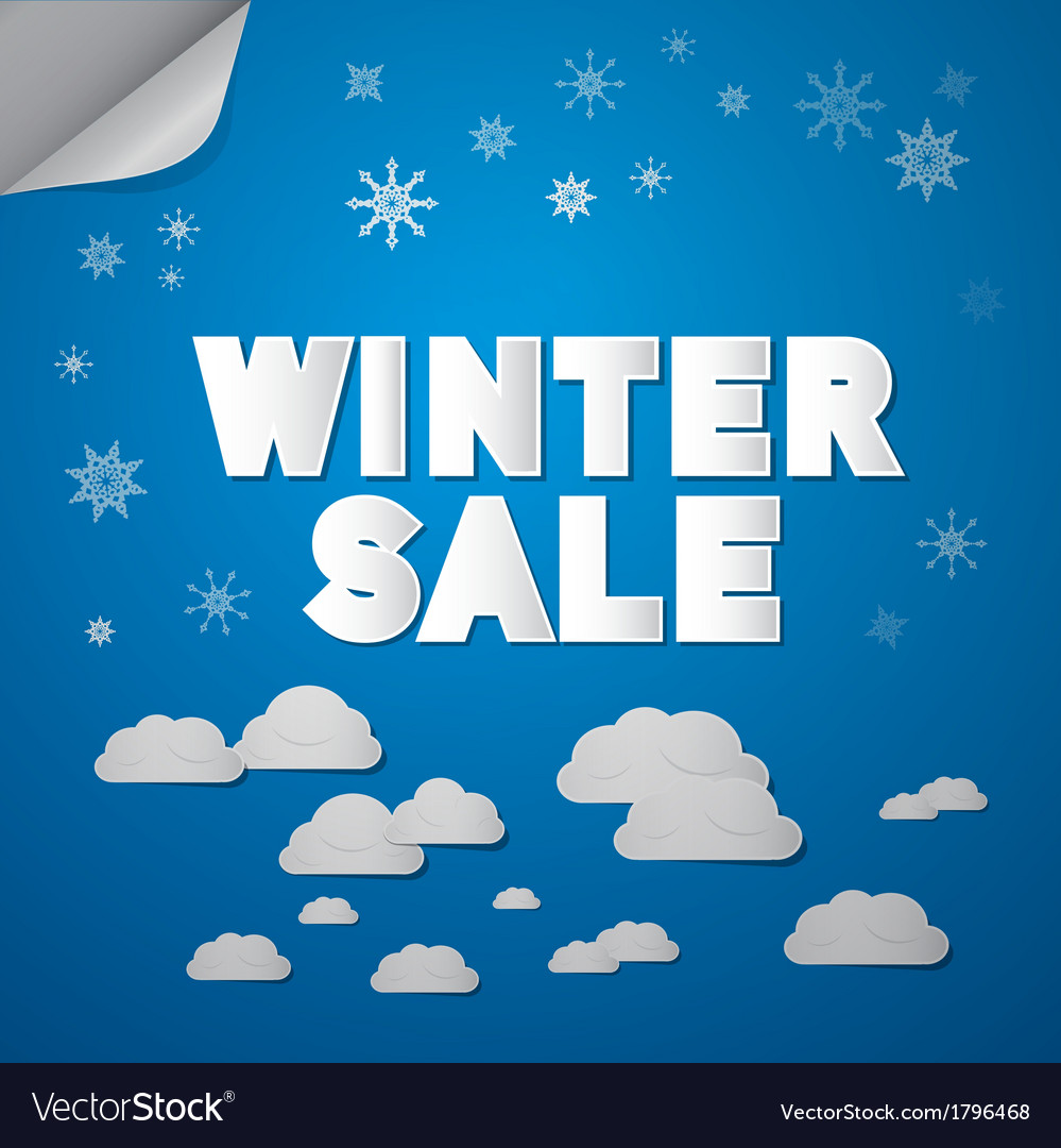 Winter sale title on abstract blue sky background vector | Price: 1 Credit (USD $1)