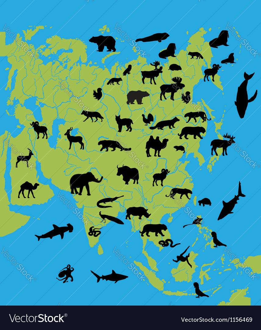 Animals on the map of asia vector | Price: 1 Credit (USD $1)