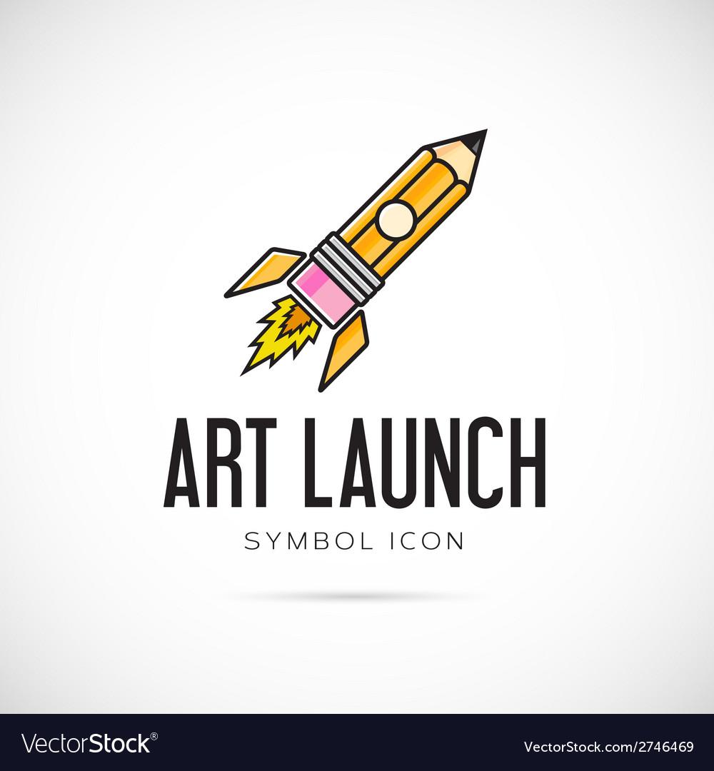 Art launch pencil rocket concept symbol icon or vector | Price: 1 Credit (USD $1)