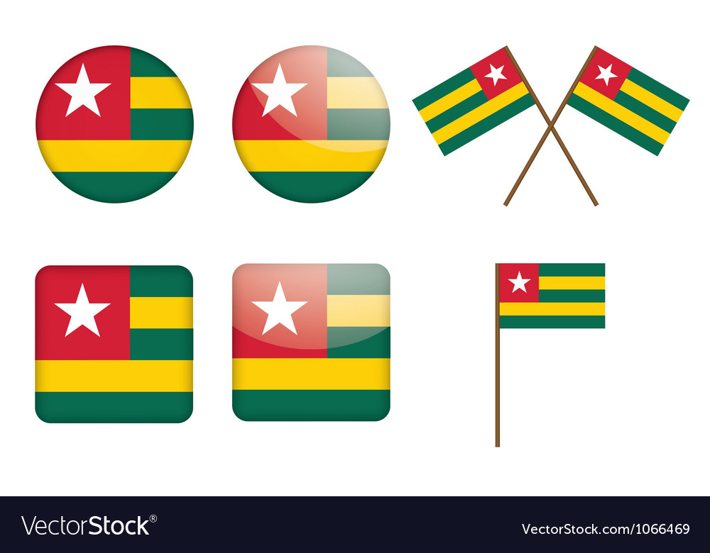 Badges with flag of togo vector | Price: 1 Credit (USD $1)