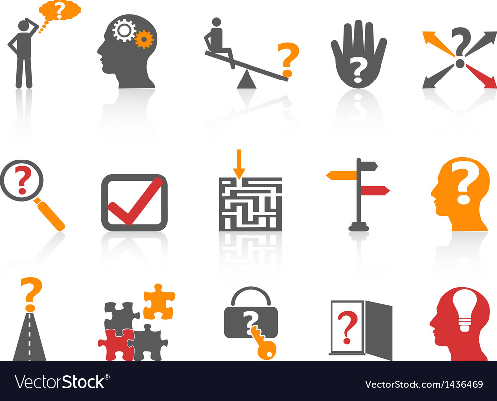 Business problem solving iconsorange color series vector