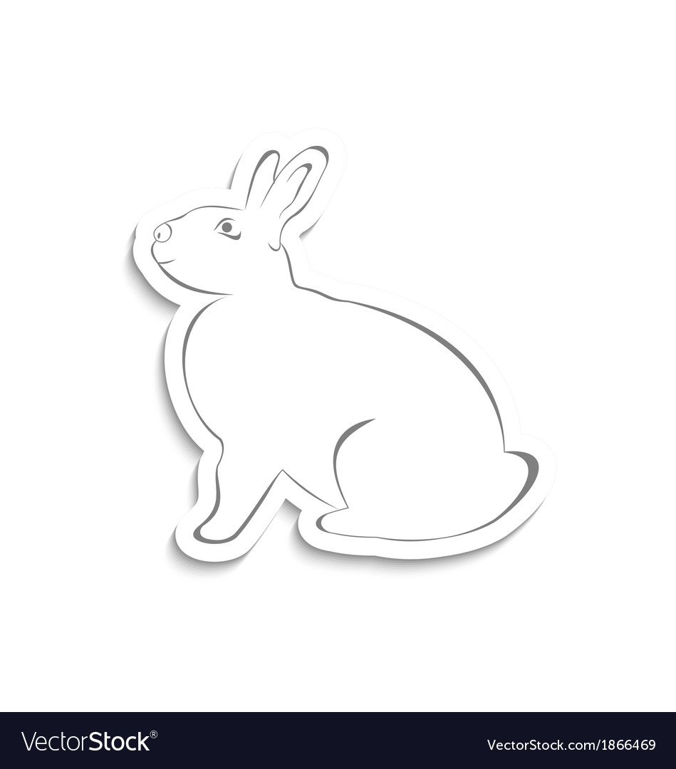 Easter greeting rabbit isolated on white vector | Price: 1 Credit (USD $1)