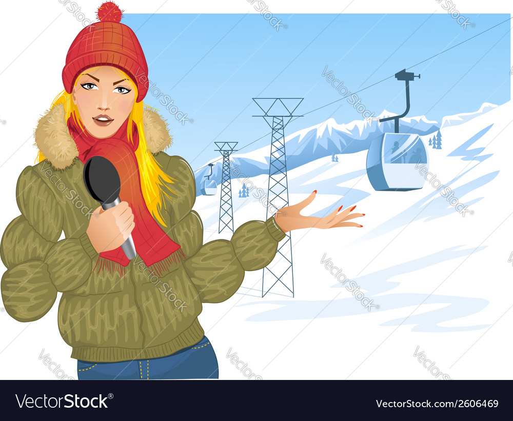 Girl reports about winter sport on the background vector | Price: 3 Credit (USD $3)