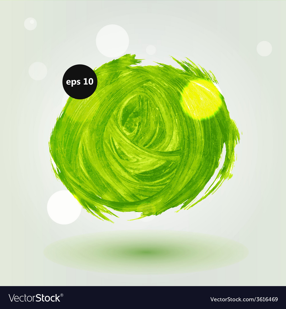 Green grungy abstract hand-painted brush circle vector | Price: 1 Credit (USD $1)