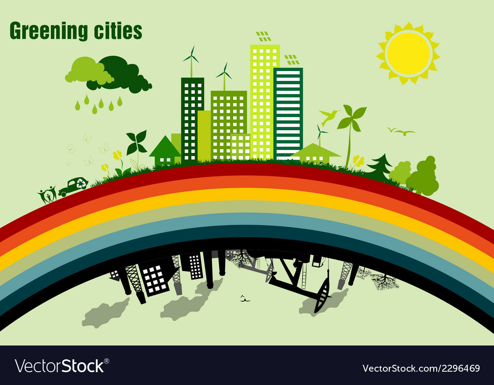 Greening cities concept of ecology vector | Price: 1 Credit (USD $1)