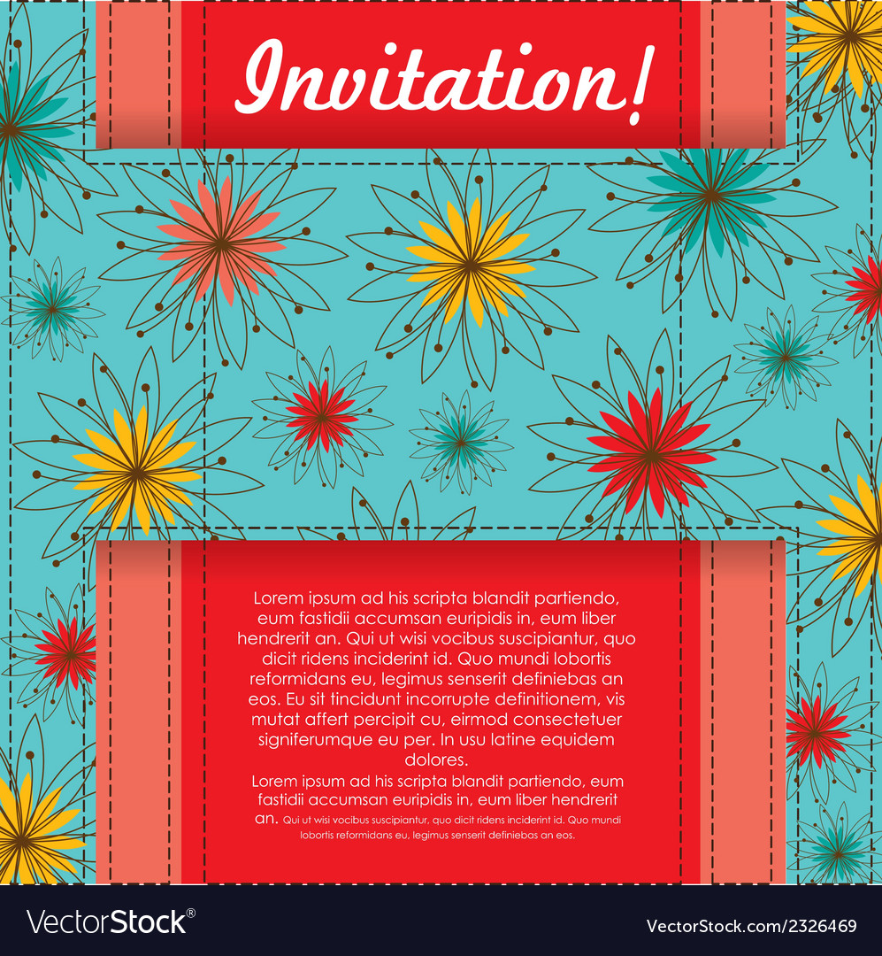 Invitation card with colorful flowers vector | Price: 1 Credit (USD $1)