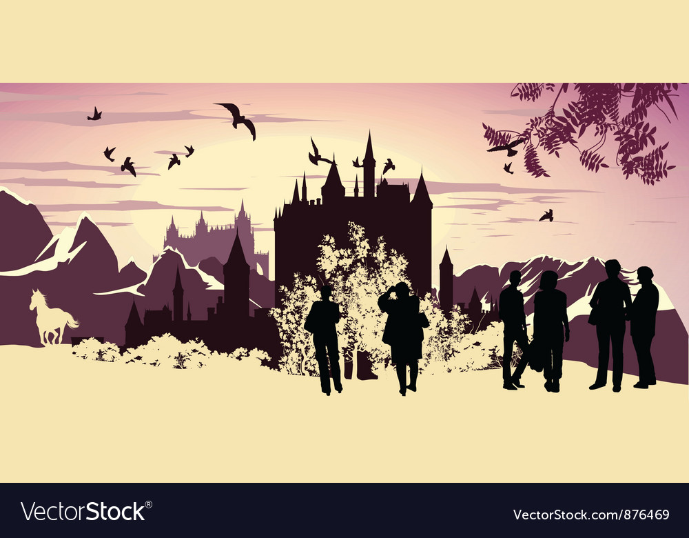 Lanscape silhouettes vector | Price: 1 Credit (USD $1)
