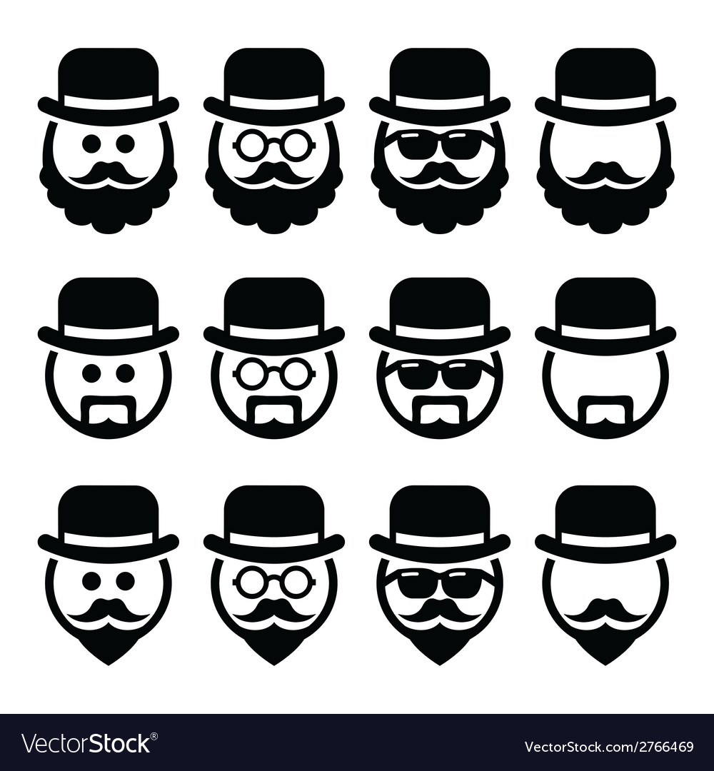 Man in hat with beard and glasses icons set vector | Price: 1 Credit (USD $1)