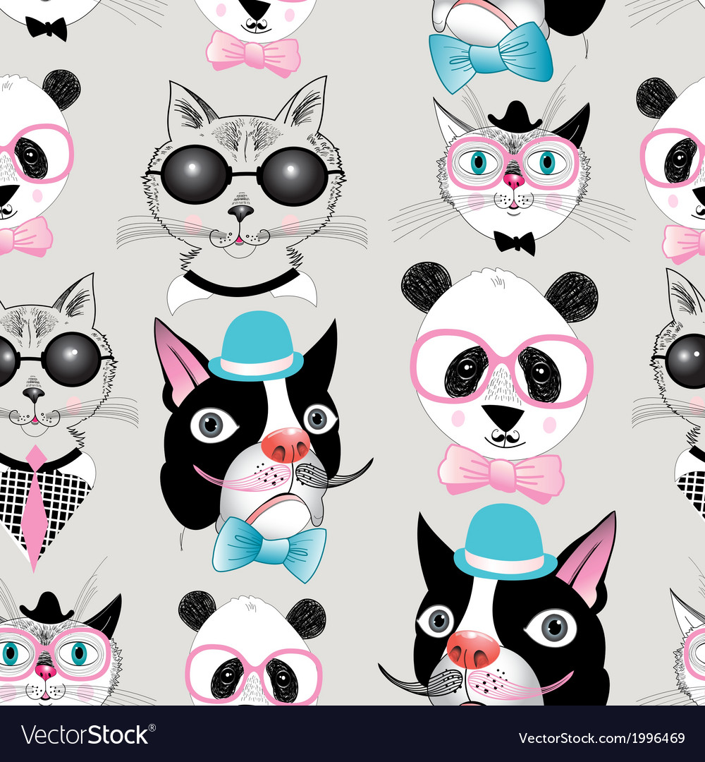 Pattern of retro hipster animal portraits vector