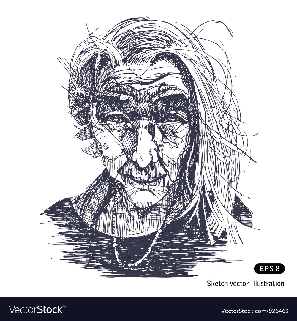 Portrait of a smiling old woman vector | Price: 1 Credit (USD $1)