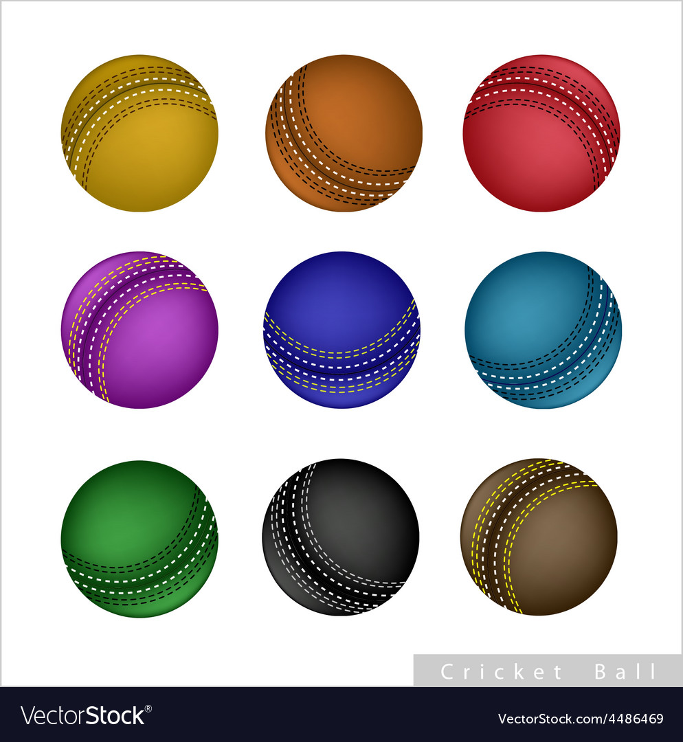Set of cricket ball on white background vector | Price: 1 Credit (USD $1)