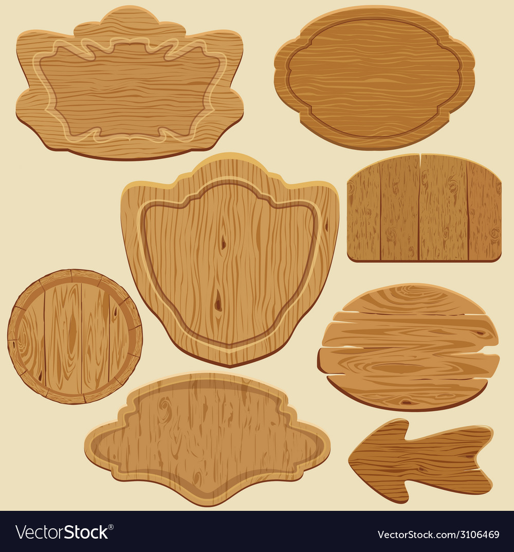 Signboards wood set 380 vector | Price: 1 Credit (USD $1)