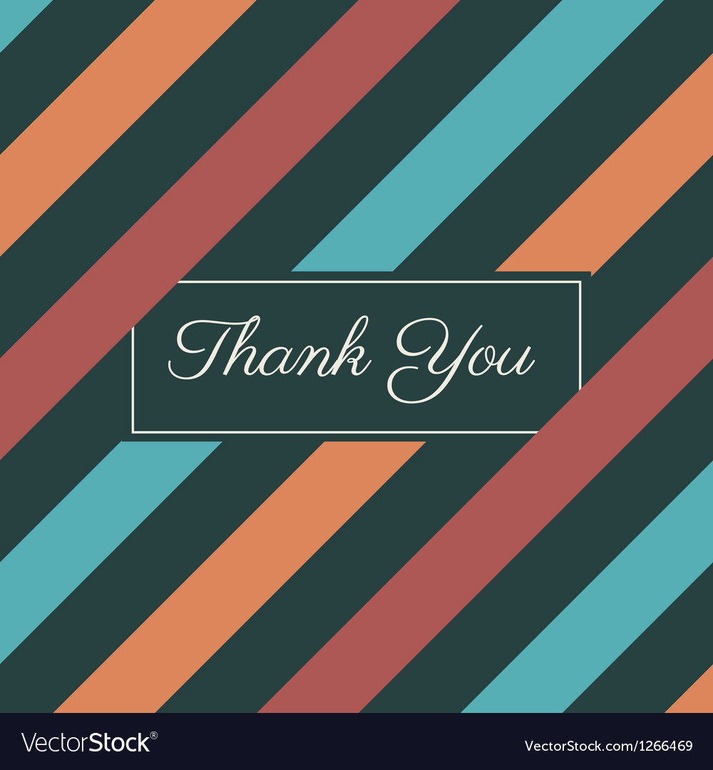 Thank you card stripes background vector | Price: 1 Credit (USD $1)