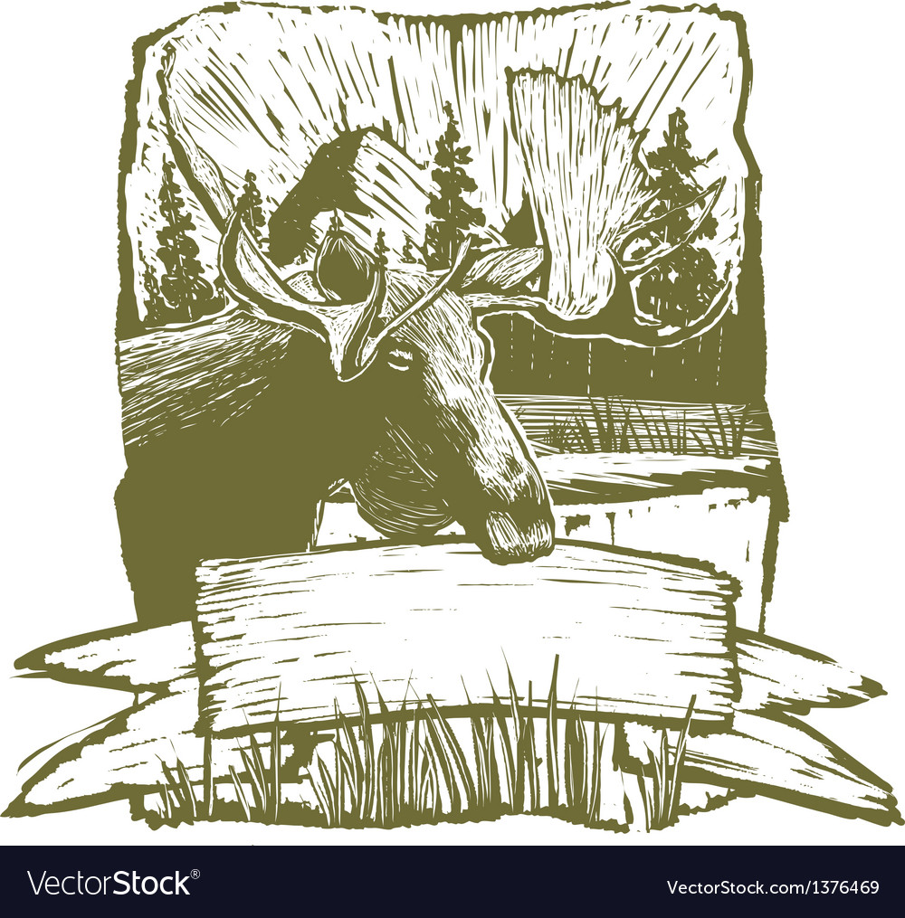 Woodcut moose design vector | Price: 3 Credit (USD $3)