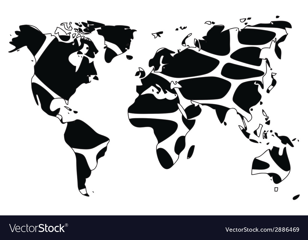 World map in animal print design black and white vector | Price: 1 Credit (USD $1)