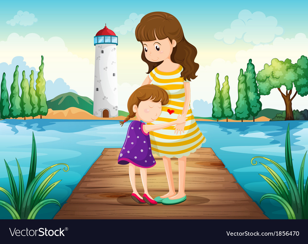 A young girl hugging her mother at the bridge vector | Price: 3 Credit (USD $3)