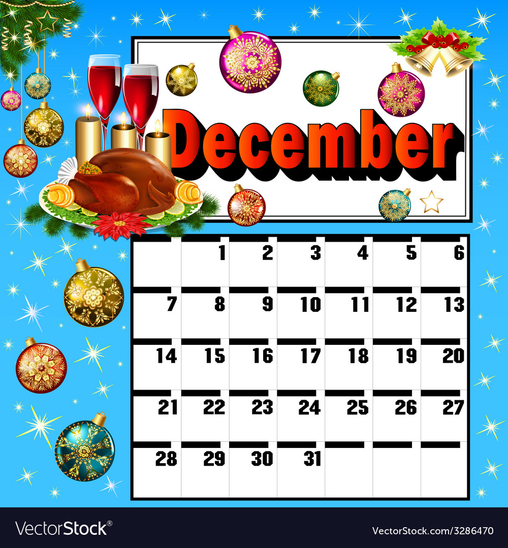 Calendar for december turkey wine candles vector | Price: 1 Credit (USD $1)